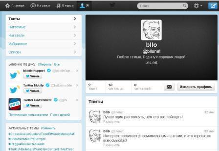 Вид персональной страницы в сервисе Twitter