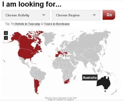Интерактивный режим выбора страны для отдыха